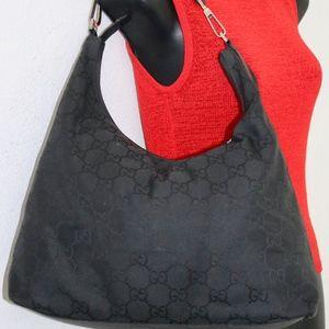 Gucci signature nylon & leather shoulder handbag